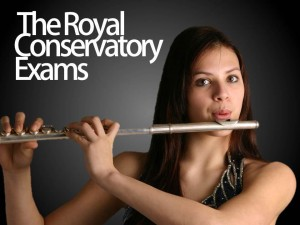 Young girl playing the flute for RCM examinations in Mississauga